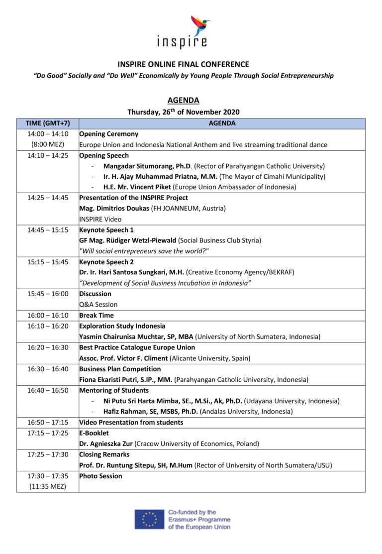 Agenda of our Online Conference on the 26th of November